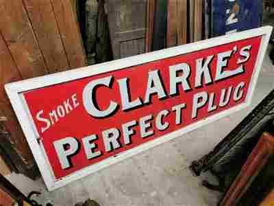 Clarke's cigarettes advertising sign.