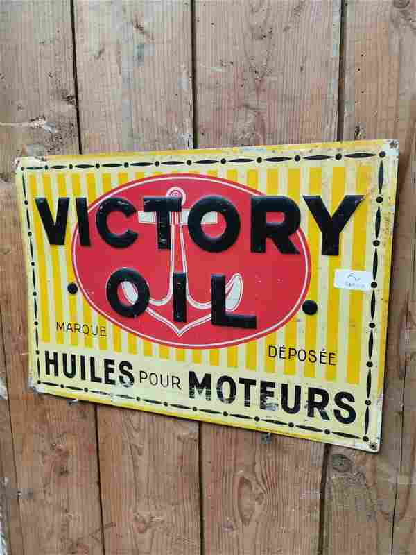 Victory Oil tin plate advertising sign.