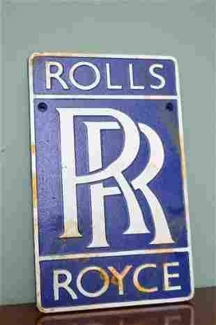 Rolls Royce cast iron advertising sign.