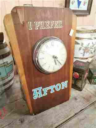 I Prefer Afton wooden advertising clock.