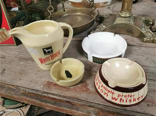 Collection of advertising jugs and ashtrays