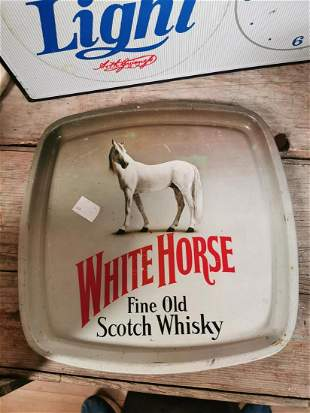 White Horse Scotch Whisky advertising tray.