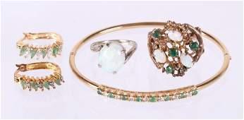 A Group of Estate Jewelry, Gold, Emeralds, Diamonds
