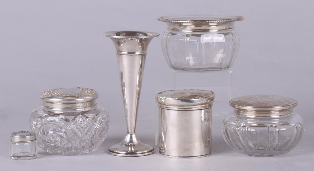 Sterling Silver: Four Boxes, Tea Caddy, Bud Vase