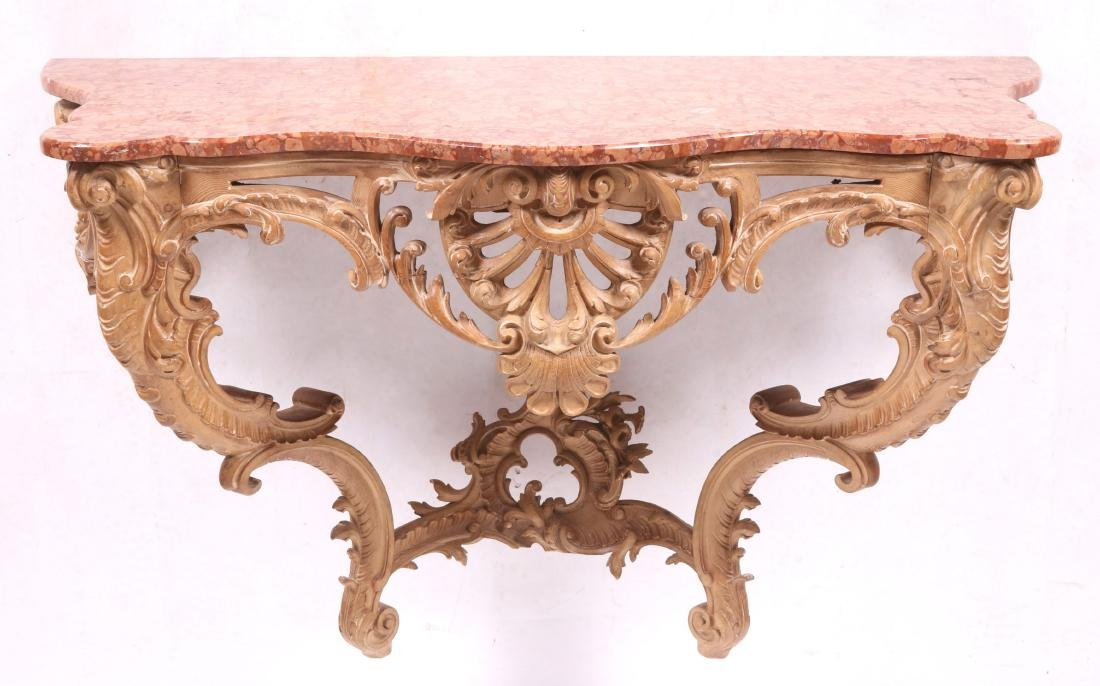A Carved Wood and Marble Rococo Style Console Table
