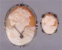 Two Vintage Shell Cameo Brooches One 14K Gold