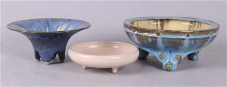 Three Art Pottery Footed Bowls by Fulper