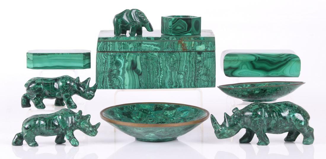 Group of Malachite: Boxes, Trays, Animal Figures