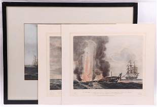 Three Etchings of Ships Constitution Java America