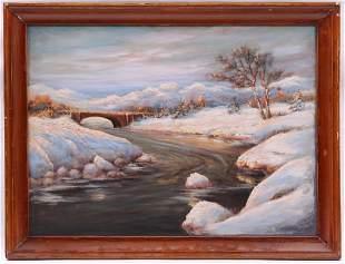 A Winter Landscape Oil on Masonite