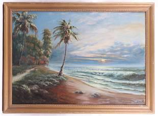 A Large Hawaiian Seascape Oil on Canvas