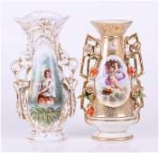 Two Old Paris Porcelain Vases, Figural Decoration