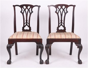 A Pair of American Period Chippendale Side Chairs