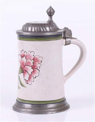 A German Pewter and Faience Stein