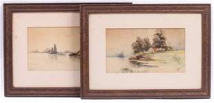 W G Russell American b 1860 Two Watercolors