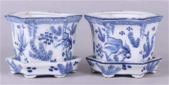 Pair Chinese Porcelain Blue and White Jardinieres