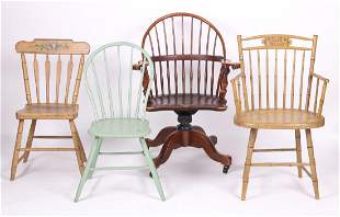Group of Four Various American Windsor Chairs
