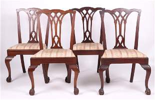 Set of Four Chippendale Style Side Chairs