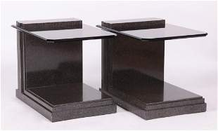 Pair Faux Marble and Smoked Glass Lamp Stands