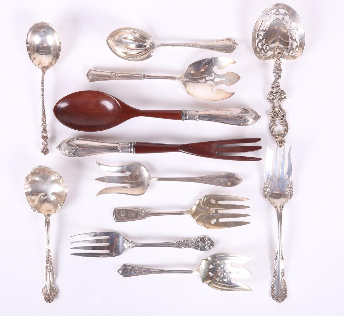 Twelve Sterling Silver Serving Spoons and Forks