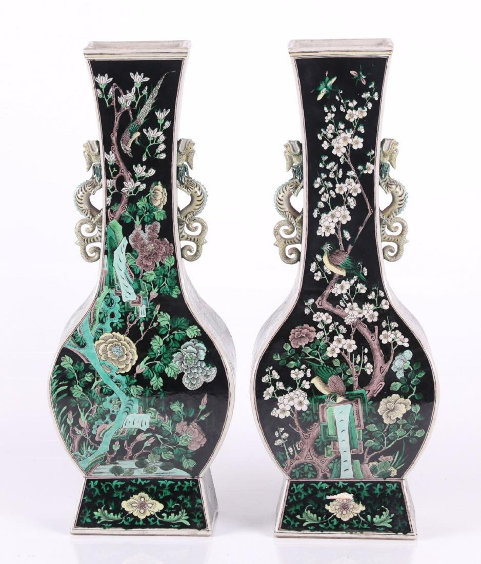 A Large Pair of Chinese Famille Noir Vases