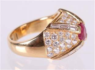 A Diamond , Ruby and 18k Gold Ring