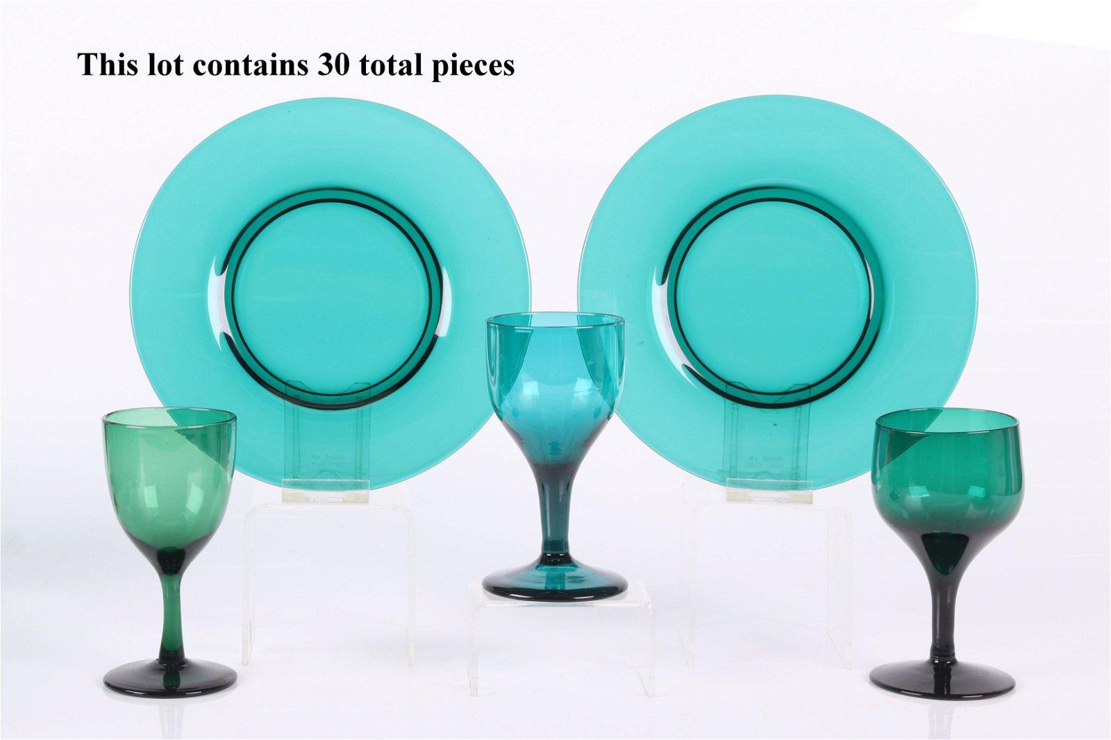 A Set of Free Blown Emerald Green Wine Glasses