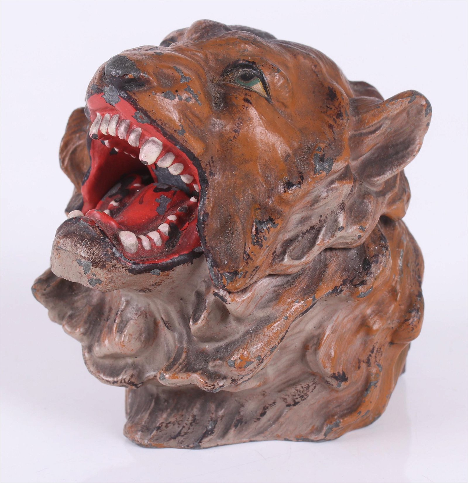 A Lion Form Spelter Inkwell c. 1900
