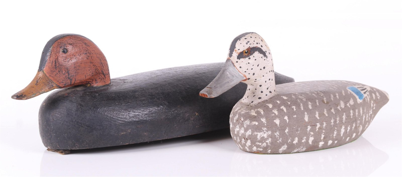 Two Duck Decoys, Blue Wing Teal, Black/Red Example