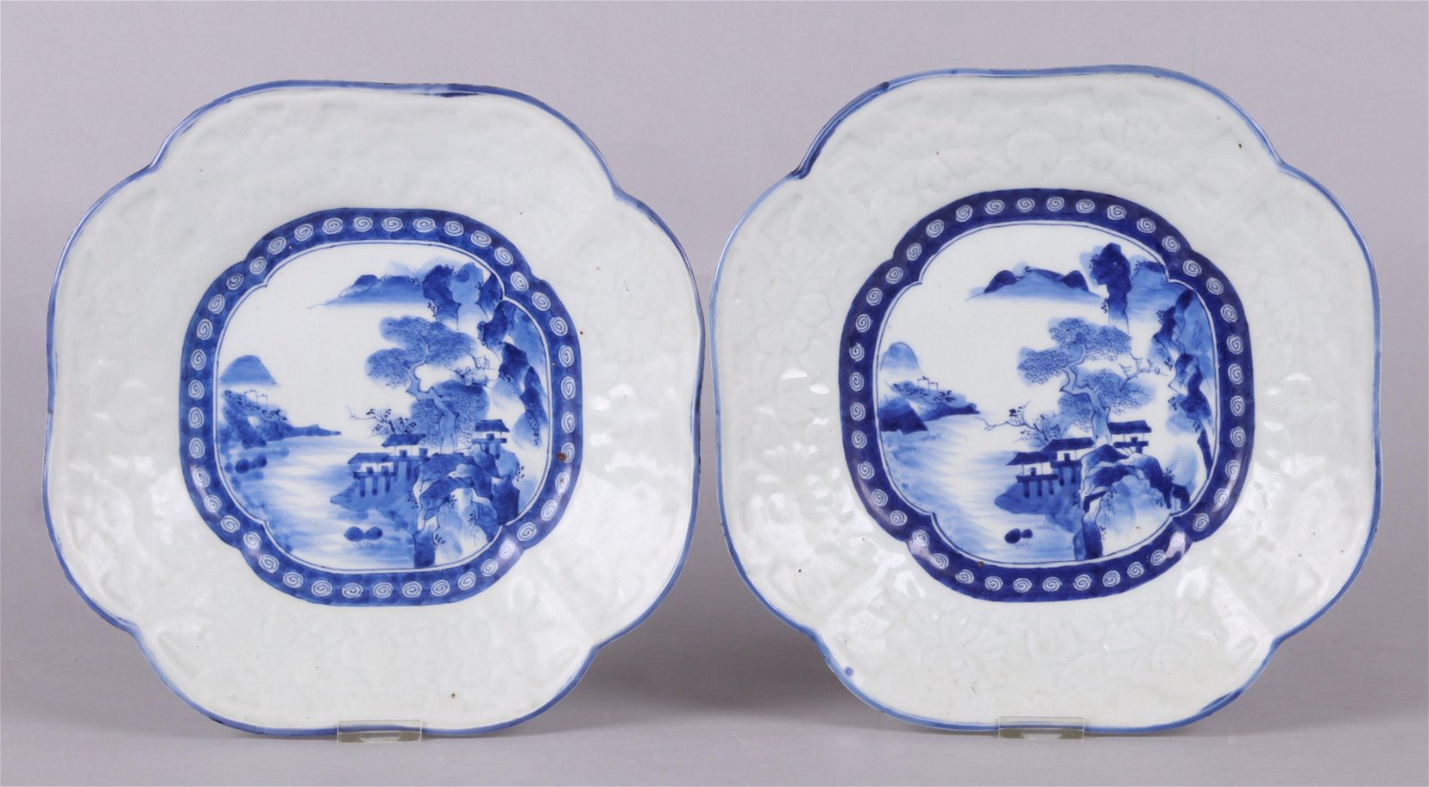 A Pair of Japanese Blue and White Trays