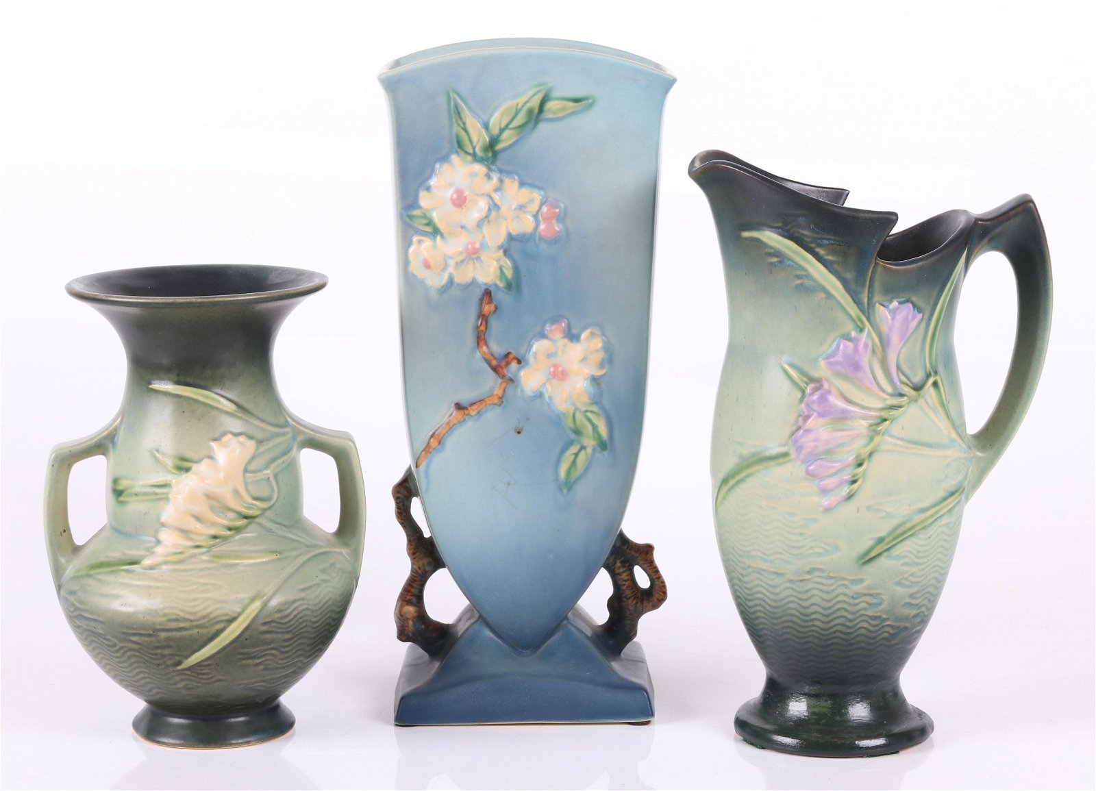 Roseville Pottery: Two Vases and a Pitcher