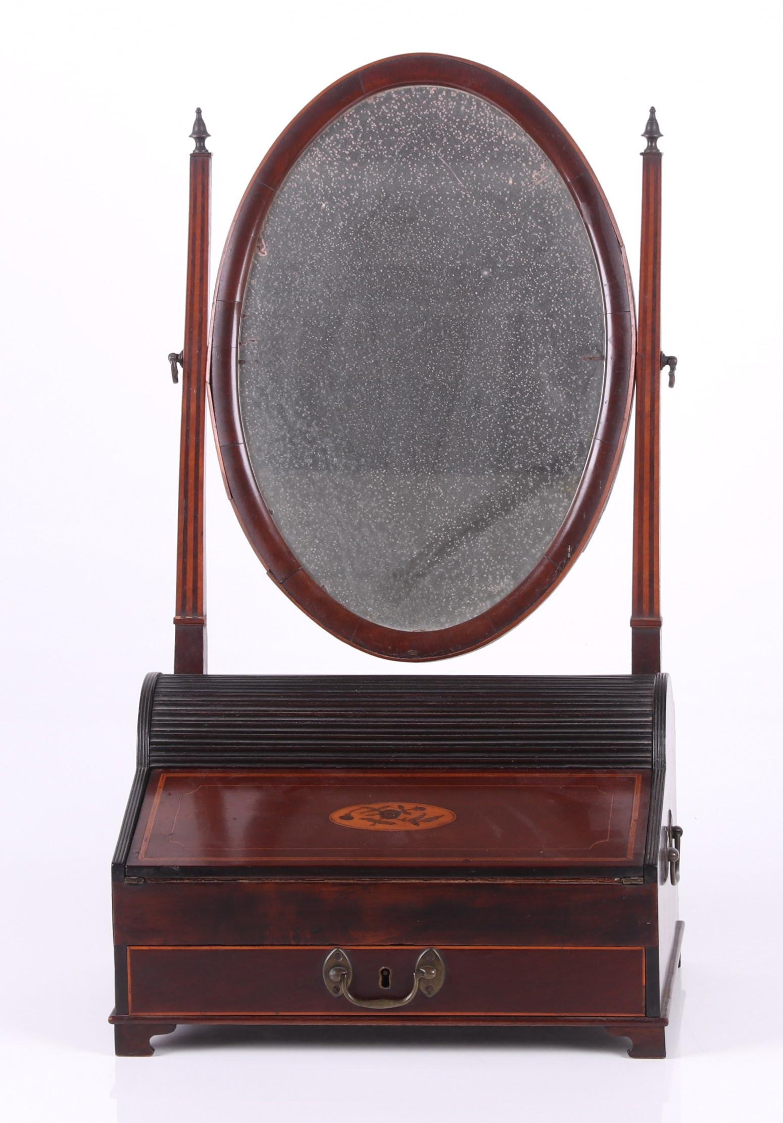 Inlaid Portable Tambour Writing Desk with Mirror