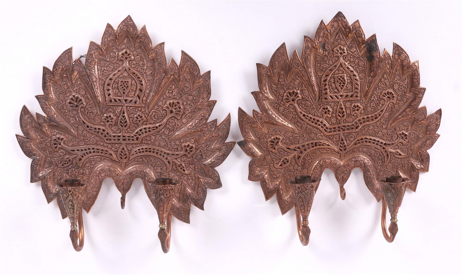 A Pair of Indian Copper Sconces