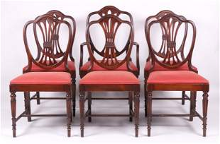 Set of Six Sheraton Style Dining Chairs