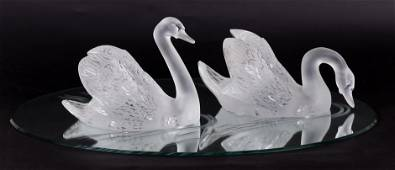 Two Lalique Swans with Mirror Plateau