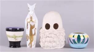 Four Ceramic Art Pieces Including Bjorn Wiinblad