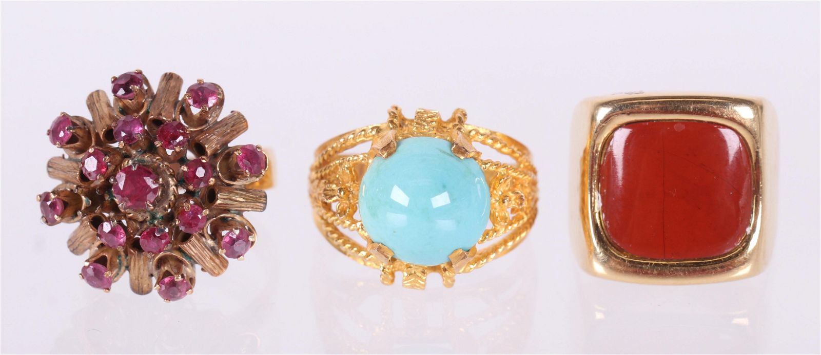 Three 18k Gold Cocktail Rings