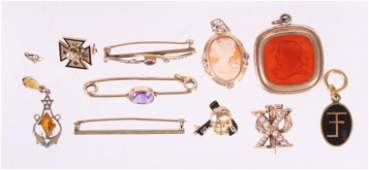 Estate Lot of Gold Jewelry Pins Etc
