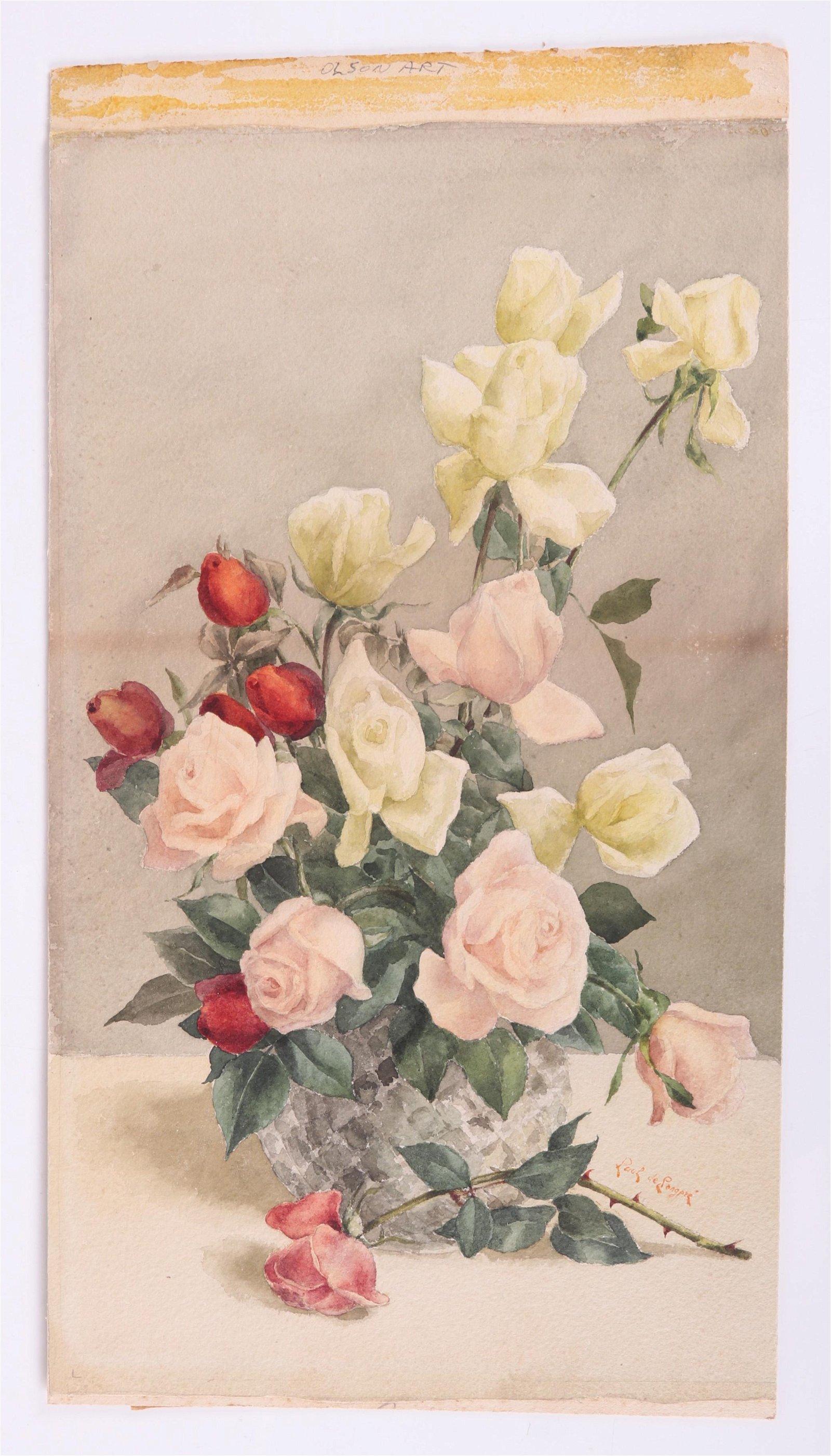 Paul De Longpre (French/US 1855-1911) Watercolor