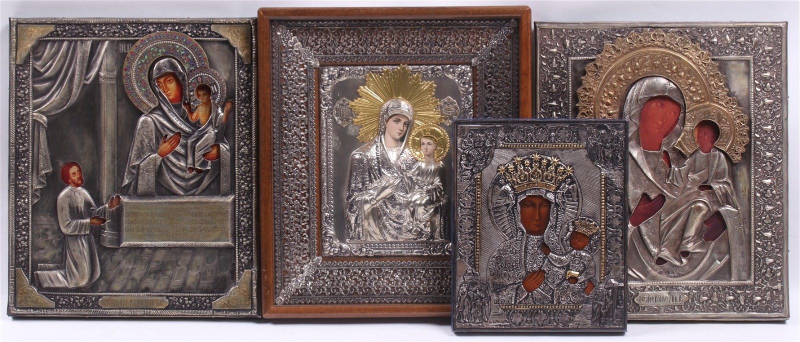Four Russian Icons Depicting Virgin and Child