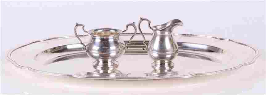 950 Silver Tray, Cartier Sterling Sugar and Creamer