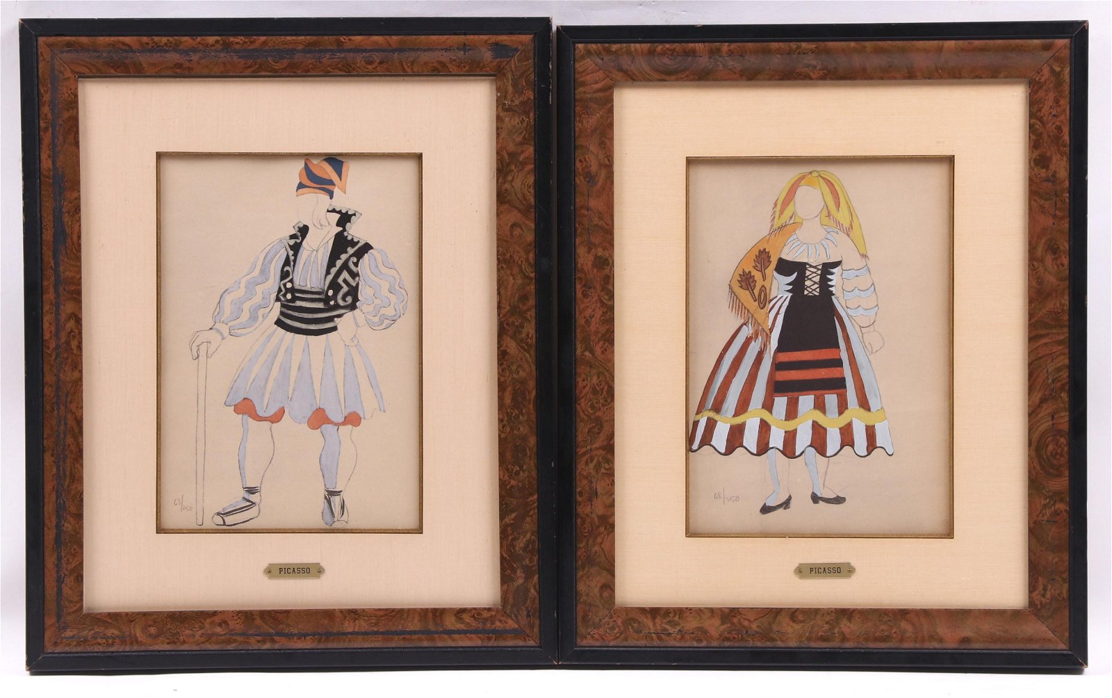 Pablo Picasso, Two Pochoir Costume Designs