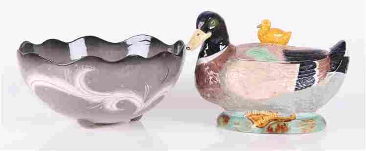 Two Ceramic Pieces Majolica and Sascha Brastoff