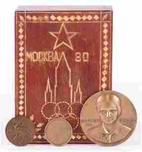 Commemorative Bronze Medallions Moscow Olympics Box