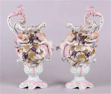 A Pair of Porcelain Ewers Sitzendorf