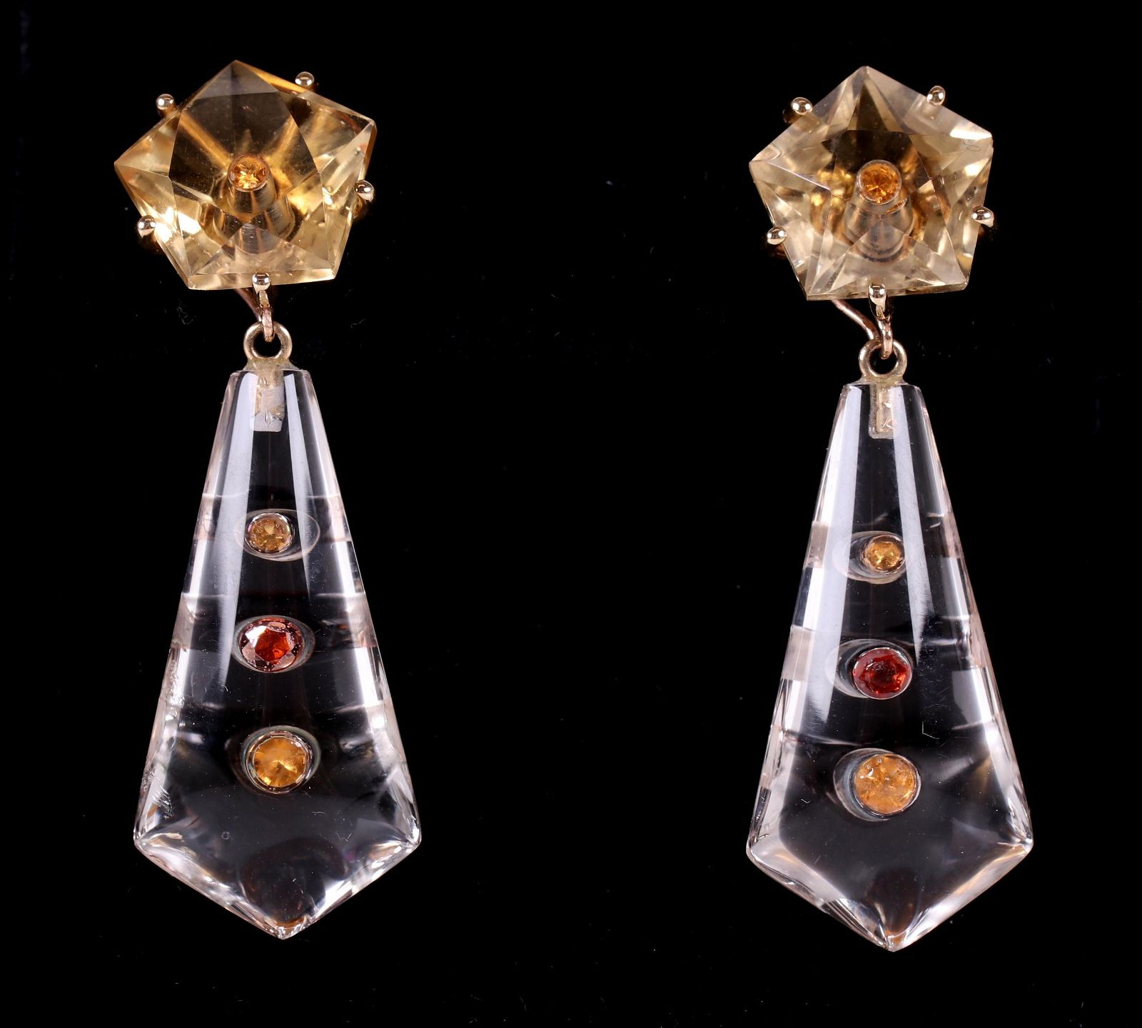 A Pair of Rock Crystal and 14k Gold Earrings