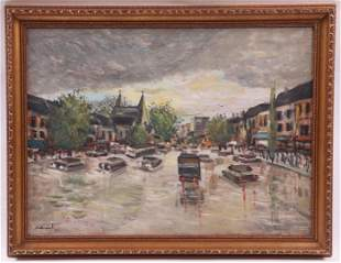 Oil on Board Streetscape Dated 1957