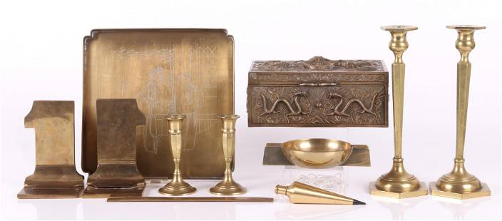 An Estate Lot of Brass Items Including Chinese