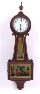 A Mahogany Reverse Painted Banjo Clock by Sessions