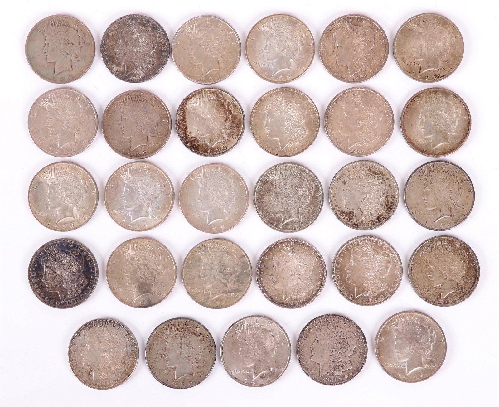 U.S. Silver Coins: 29 Morgan and Peace Dollars